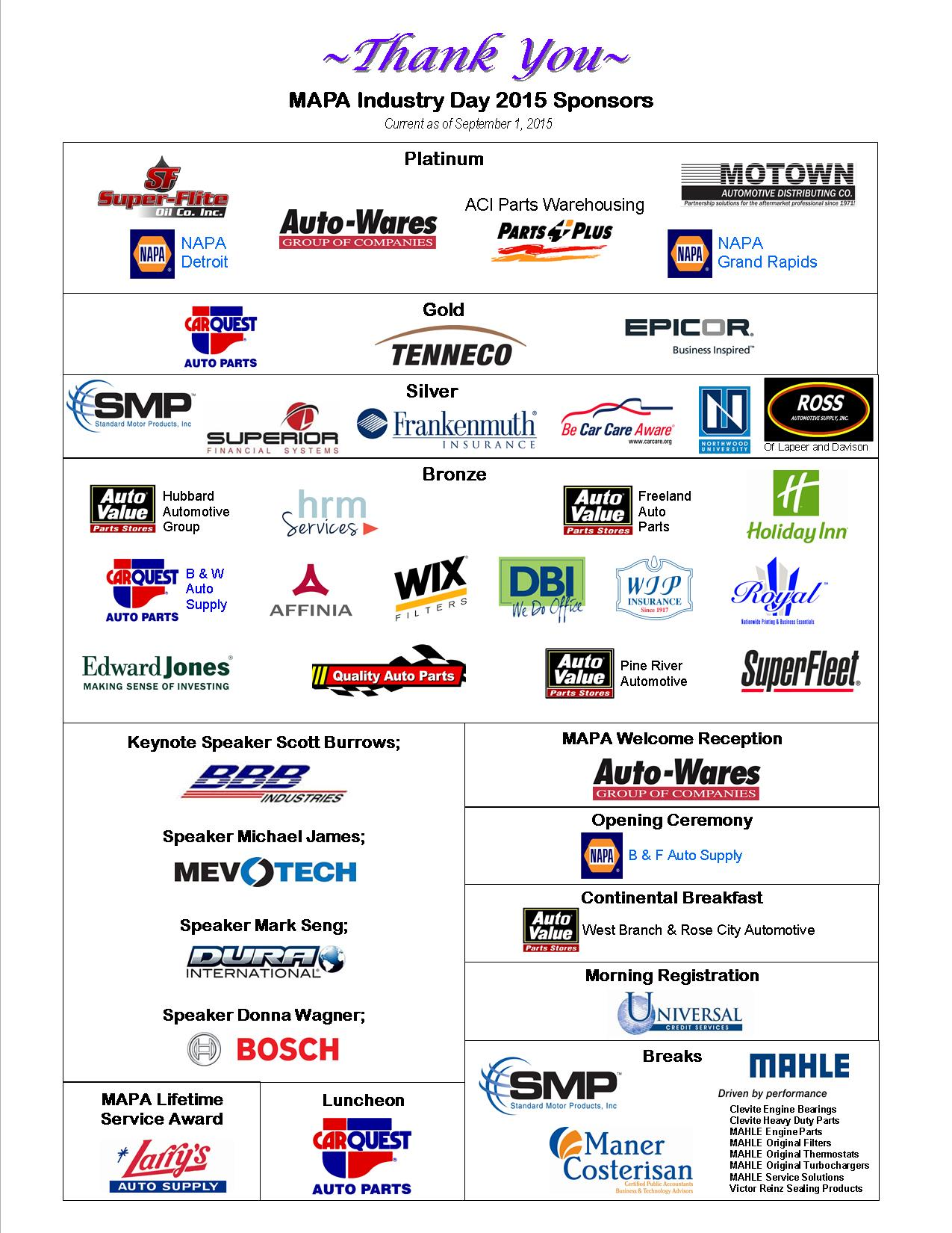 Thank You Sponsors 2015 Website